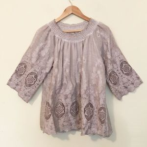 Simply Couture Romantic Lace Smocked Top L new NWT